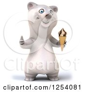 Clipart Of A 3d Polar Bear Giving A Thumb Up And Holding An Ice Cream Cone Royalty Free Illustration