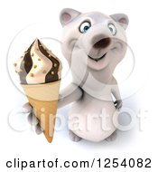 Clipart Of A 3d Polar Bear Holding Up An Ice Cream Cone Royalty Free Illustration