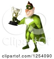 Clipart Of A 3d Green Caucasian Super Hero Man Holding A Championship Trophy Royalty Free Illustration