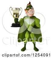 Clipart Of A 3d Green Caucasian Super Hero Man Holding A Championship Trophy 2 Royalty Free Illustration