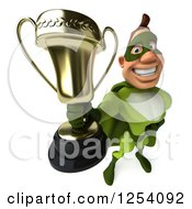 Clipart Of A 3d Green Caucasian Super Hero Man Holding Out A Championship Trophy Royalty Free Illustration
