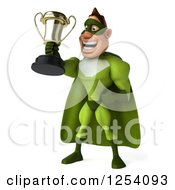 Clipart Of A 3d Green Caucasian Super Hero Man Holding Up A Championship Trophy Royalty Free Illustration