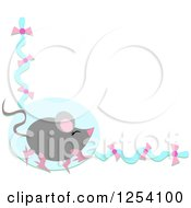 Walking Mouse On A Blue And Pink Bow Border