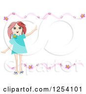 Hapy Brunette Girl On A Pink Floral Border