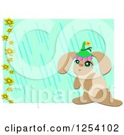 Bunny Rabbit Wearing A Hat Over A Green And Blue Floral Background