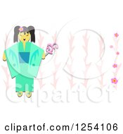 Happy Geisha Girl Over Pink Floral Branches