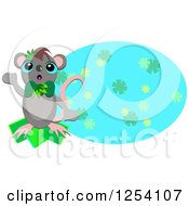 Friendly Mouse Over A Blue Floral Oval