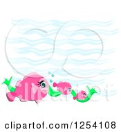 Clipart Of A Group Of Pink Fish And Seaweed Over Waves Royalty Free Vector Illustration