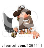 Clipart Of A Happy Male Pirate Over A Sign Royalty Free Illustration