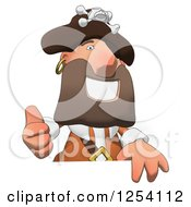 Clipart Of A Happy Male Pirate Holding A Thumb Up Over A Sign Royalty Free Illustration