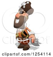 Clipart Of A Happy Male Pirate Facing Left Royalty Free Illustration