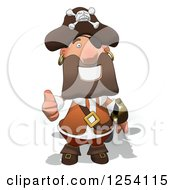 Clipart Of A Happy Male Pirate Holding A Thumb Up Royalty Free Illustration