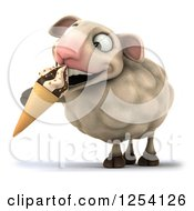 Clipart Of A 3d Sheep Eating An Ice Cream Cone Royalty Free Illustration