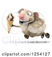 Clipart Of A 3d Sheep Running With An Ice Cream Cone Royalty Free Illustration