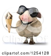 Clipart Of A 3d Sheep Wearing Sunglasses And Holding Out An Ice Cream Cone Royalty Free Illustration