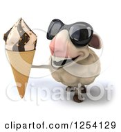 Clipart Of A 3d Sheep Wearing Sunglasses And Holding Up An Ice Cream Cone Royalty Free Illustration