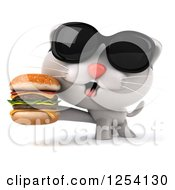 Clipart Of A 3d White Kitten Wearing Sunglasses And Holding A Double Cheeseburger Royalty Free Illustration