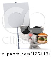 Clipart Of A 3d White Kitten Wearing Sunglasses And Holding A Double Cheeseburger By A Blank Sign Royalty Free Illustration