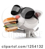 Clipart Of A 3d White Kitten Wearing Sunglasses And Eating A Double Cheeseburger Royalty Free Illustration
