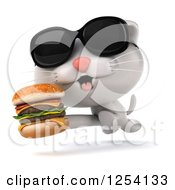 Clipart Of A 3d White Kitten Wearing Sunglasses And Running With A Double Cheeseburger Royalty Free Illustration