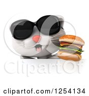 Clipart Of A 3d White Kitten Wearing Sunglasses And Holding A Double Cheeseburger Over A Sign Royalty Free Illustration