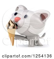 Clipart Of A 3d White Kitten Licking An Ice Cream Cone Royalty Free Illustration