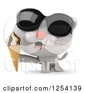 Clipart Of A 3d White Kitten Wearing Sunglasses And Holding An Ice Cream Cone Royalty Free Illustration
