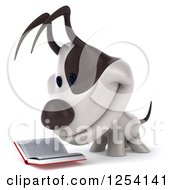 Clipart Of A 3d Jack Russell Terrier Dog Reading A Book 2 Royalty Free Illustration