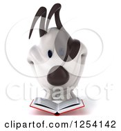 Clipart Of A 3d Jack Russell Terrier Dog Reading A Book 3 Royalty Free Illustration