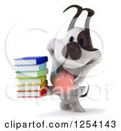 Clipart Of A 3d Jack Russell Terrier Holding A Stack Of Books Royalty Free Illustration