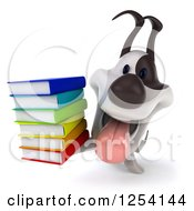 Clipart Of A 3d Jack Russell Terrier Holding A Stack Of Books 2 Royalty Free Illustration