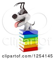 Clipart Of A 3d Jack Russell Terrier Dog On A Stack Of Books 2 Royalty Free Illustration