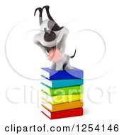 Clipart Of A 3d Jack Russell Terrier Dog On A Stack Of Books Royalty Free Illustration