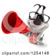Clipart Of A 3d Bespectacled Jack Russell Terrier Dog Announcing With A Megaphone 2 Royalty Free Illustration