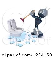 Clipart Of A 3d Blue Android Robot Plunging A Toilet Royalty Free Illustration