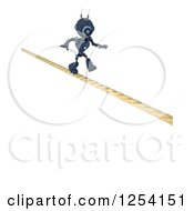 Clipart Of A 3d Blue Android Robot Crossing A Tight Rope Royalty Free Illustration