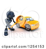 Clipart Of A 3d Blue Android Robot Using A Magnifying Glass To Search For A Car Royalty Free Illustration