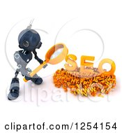 Clipart Of A 3d Blue Android Robot Searching Over SEO Royalty Free Illustration