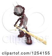 Clipart Of A 3d Red Android Robot Pulilng A Rope Royalty Free Illustration by KJ Pargeter
