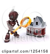 Clipart Of A 3d Red Android Robot Using A Magnifying Glass To Search A Home Royalty Free Illustration