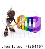 Clipart Of A 3d Red Android Robot Using A Magnifying Glass To Binders Royalty Free Illustration by KJ Pargeter