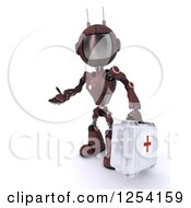 Clipart Of A 3d Red Android Robot Paramedic Carrying A First Aid Kit Royalty Free Illustration