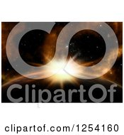 Clipart Of A 3d Sunrise Behind A Fictional Planet Royalty Free Illustration