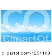 Clipart Of A Blue Ocean Seascape With Clouds Royalty Free Illustration