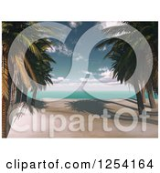 Clipart Of A 3d Tropical Beach With Palm Trees Royalty Free Illustration