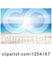 Clipart Of A Blurred Ocean Scene With Sunshine Royalty Free Vector Illustration