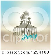Clipart Of A Tropical Island With Silhouetted Dancers And Summer Party Text Royalty Free Vector Illustration