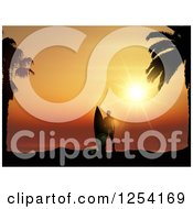 Clipart Of A Lone Silhouetted Male Surfer With Palm Trees And An Orange Sunset Royalty Free Vector Illustration
