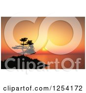 Clipart Of A 3d Silhouetted Tree And Island Against An Orange Ocean Sunset Royalty Free Illustration