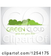 Clipart Of A Green Cloud And Sample Text Background Royalty Free Vector Illustration